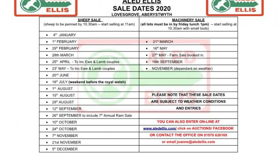 Sale Dates for 2020