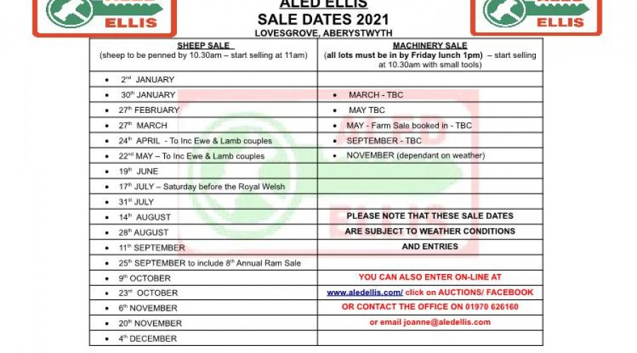 Sale Dates for 2021